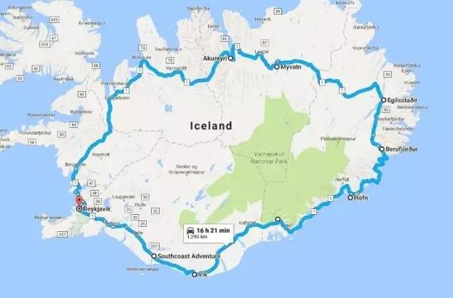 冰岛自驾环岛路路线冰岛是非常适合自驾